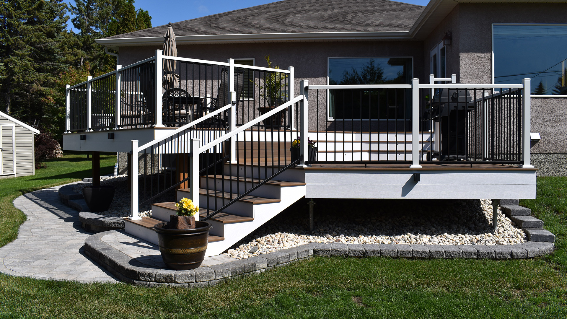 outdoor deck with yard